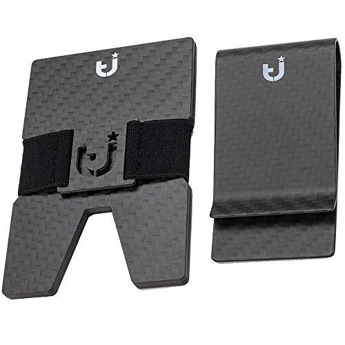 TeeJay Carbon Fiber Minimalist RFID Front Pocket Wallet Card Holder & Money Clip
