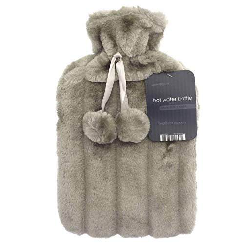 Taupe Beige Large 2L Natural Rubber Hot Water Bottle with Warm Faux Fur Fluffy Pom Pom Cover