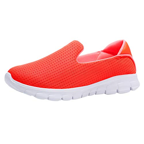 Sunhusing Women's Solid Color Breathable Soft Bottom Sneakers Light Set Foot Walking Shoes Flat Mesh Shoes Orange