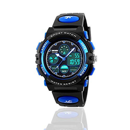 Treasure Store Popular Toys for 6 Year Old Boys - Toys for 3-11 Year Old Girls, Sports Waterproof Digital Watches Analog Smart Girl Watches Ages 5-10 Gifts for 3-11 Year Old Girls Boys (Blue)]()