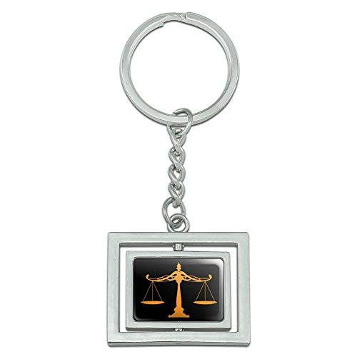 Scales Of Justice Legal Lawyer Spinning Rectangle Chrome Plated Metal Keychain Key Chain Ring -