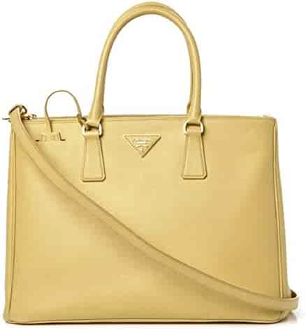 5dea614116 PRADA Saffiano Leather Large Galleria Double Zip Tote Polline Handbag Tote  B1786T