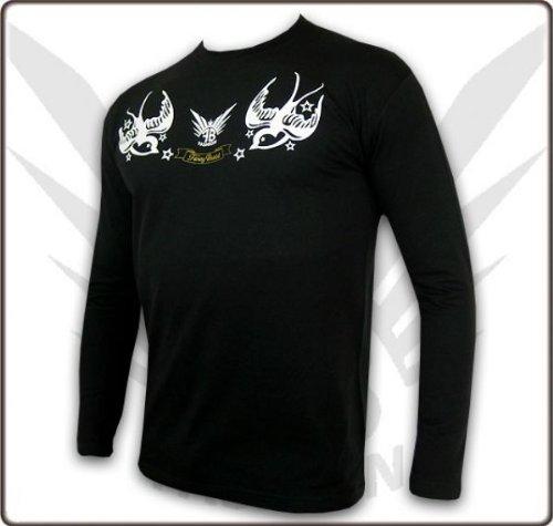 FancyBeast Clubwear Rockabilly Longsleeve Schwarz FB188, L
