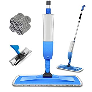 Bellababy Spray Mop and Glass Wiper,Microfiber Mop with 4 Reusable Pads Can Spray Upward,360 Degree Rotatable Mophead Suitable for Hardwood, Marble, Tile