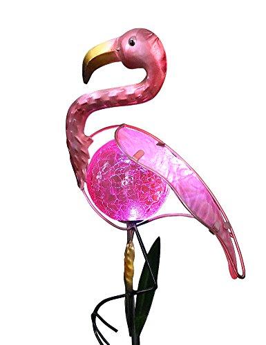 Bright Zeal Pink Metal Flamingo Led Solar Garden Stake