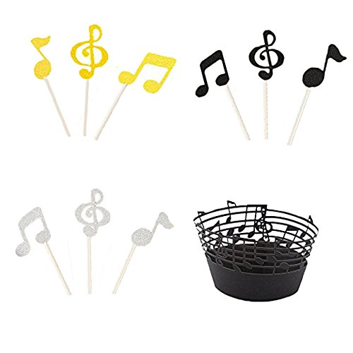 LQQDD Music Notes Cupcake Topper Music Notes Cupcake Wrappers Lace Muffin Case Cupcake Paper Cup Liner,Music Notes Decorations Party Supplies Birthday Cake Decorating Tools Baby Showers Party by LQQDD (Image #4)