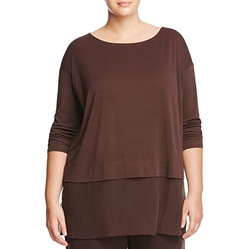 Eileen Fisher Womens Plus Mixed Media Chiffon Hem Tunic Top Brown 1X by Eileen Fisher