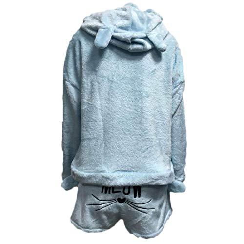 Aiweijia Conjunto de Pijamas Kawaii Lindo Gato cálido con Capucha de Coral párrafo Corto de Dos Piezas: Amazon.es: Ropa y accesorios