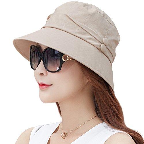 Siggi Womens Bucket Cord Sun Summer Beach Hat with Small Brim for Ladies Foldable Packable UV SPF 50 Khaki