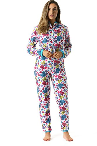 Girls Animal Print Onesie (Just Love Printed Flannel Adult Onesie/Pajamas, Animal Heart,)