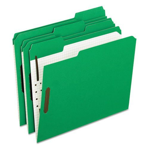 (Colored Folders With Embossed Fasteners, 1/3 Cut, Letter, Green/Grid Interior, Sold as 50 Each)