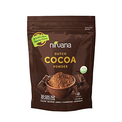 NIRVANA Best Tasting Organic Dutch Cocoa Powder 20/22% fat, alkaline(non-bitter) (Best Tasting Cocoa Powder)
