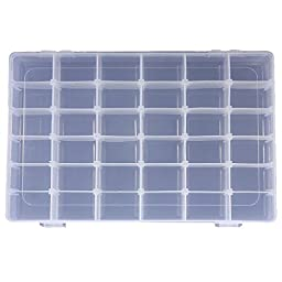 36 Grid Clear Adjustable Jewelry Bead Organizer Box Storage Container Case