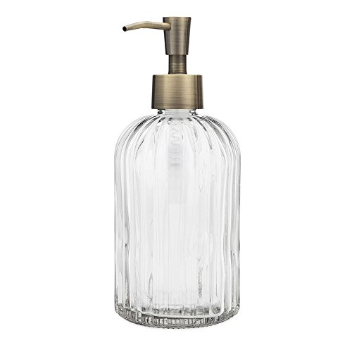 Rail19 Fluted Glass Nouveau Soap Dispenser with Metal Soap Pump for The Kitchen and Bathroom Great for Lotions and Liquid Hand Soaps (Brass) ()