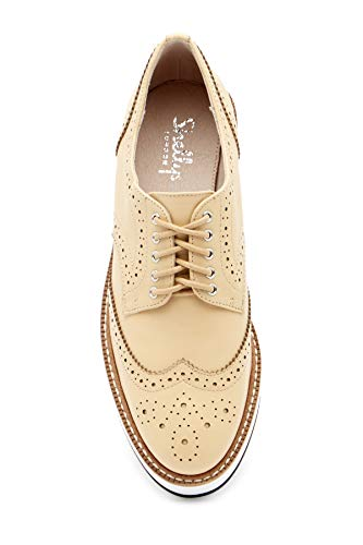 Bone Wingtip Emma Platform Nude Oxford Tailored Lace London Shellys Man Up Women's YtqAwa