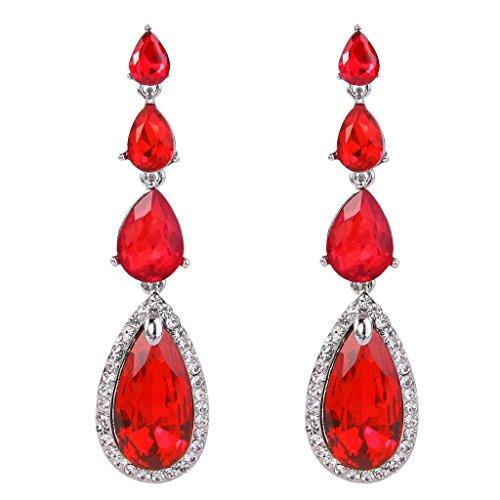 BriLove Women's Elegant Wedding Bridal Multi Teardrop Long Chandelier Dangle Pierced Earrings Ruby Color Silver-Tone (Large Earrings Rhinestone)