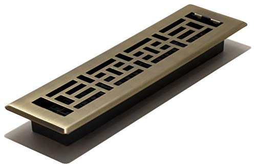 (Decor Grates AJH212 2-inch by 12-inch Oriental Floor Register, Polished Brass Finish)