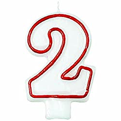 """Classic Red Border Flat Molded Number 2 Celebration Candle, White , 3"""""""