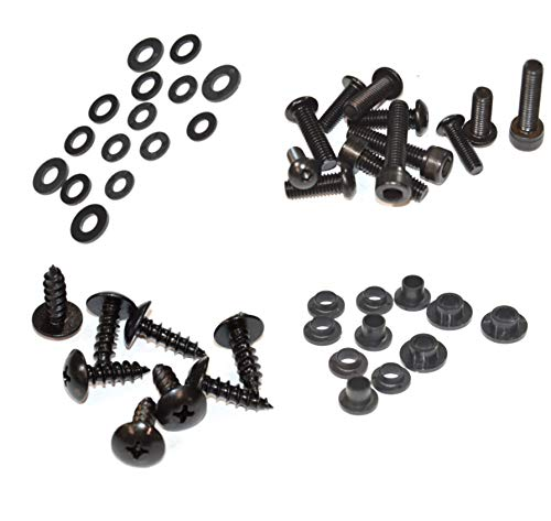(Black Standard Motorcycle Fairing Bolt Kit For Honda CBR1000RR 2004-2005 Body Screws, Fasteners, and Hardware)