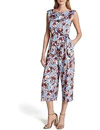 Women's Sleeveless Side Tie Floral Satin Jumpsuit