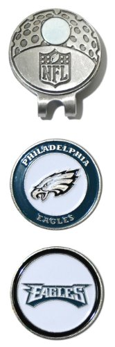 Team Golf NFL Philadelphia Eagles Golf Cap Clip with 2 Removable Double-Sided Enamel Magnetic Ball Markers, Attaches Easily to Hats ()