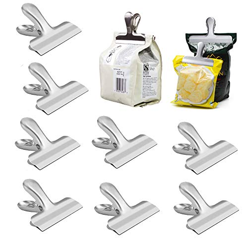 - Chip Bag Clips set of 13,8 Pack 3 Inch Heavy Duty Stainless Steel Clips and 5 Pack 4.3 Inch Plastic Sealing Clips, Great for Air Tight Seal Grip on Coffee & Food Bags, Kitchen Home Office Usage