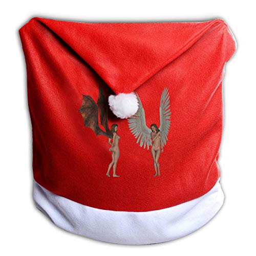 FUNMAX Cool Halloween Fantasy Naked Angel and Devil Non-Woven Xmas Christmas Themed Dinner Chair Cap Hat Covers Set Ornaments Backers Protector for Seat Slipcovers Wraps Coverings Decorations