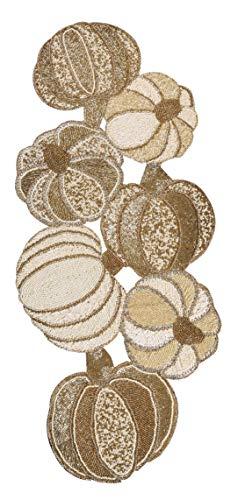 Glitz sequin & Beads table runner 13x36 Gold Ivory,Beaded Table Runner,Decorative Table Runner,Farmhouse Table Runner in Beads,Rustic Table Runner,Christmas Table Runner in Beads Decorations (Christmas Runner Beaded Table)