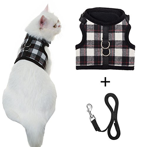 (Escape Proof Cat Harness with Leash - Adjustable Soft Mesh - Best for Walking Plaid Medium)