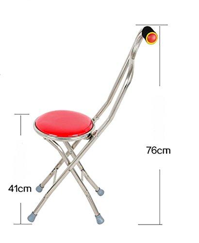 G&M Folding Travel Cane Walking Stick Seat Camp Stool Cha...