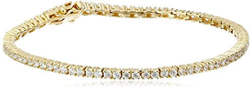 18k Yellow Gold Plated Sterling Silver Round Cut 2mm Cubic Zirconia Tennis Bracelet, 7