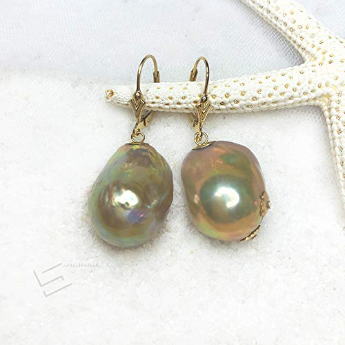 - Baroque Pearls Lever Back Earrings, Metallic Freshwater Cultured Pearls In 14KT Gold Filled Earring Drops, Exotic Tone Real Pearls