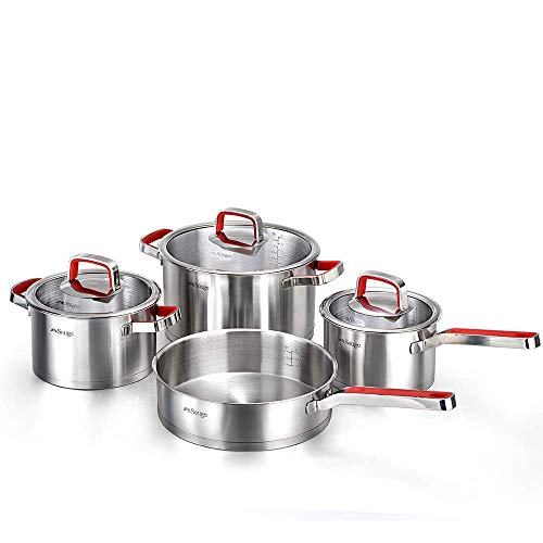 (New 2018 German Technology Solige Stainless Steel Cookware 7-piece set with Heat Resistant handles with Red Anti-Slip Silicone)