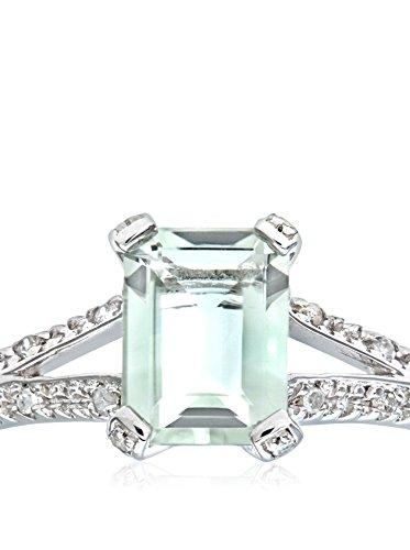 Revoni - Bague en or blanc 9 carats, améthyste verte taille émeraude et diamants