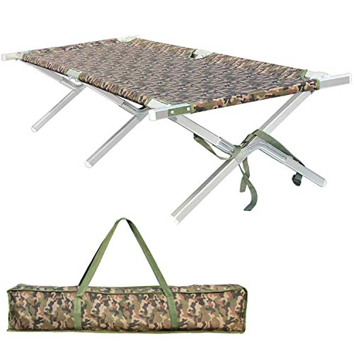 Shaddock Fishing Portable Folding Camping Cot - Military Grade Aluminum Frame Adult Cot Bed with Zippered Storage Bag Perfect Base Camp, Travel Hunting - Test 400 lbs Weight Capacity ()
