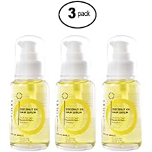 Coconut & Argan Oil Hair Serum a Natural Leave In Conditioner Boosted with Vitamin E, Birrea Seed, & Silk Protein - Revitalize & Detangle for a Smooth & Shiny Look - 50ml (3 Pack)
