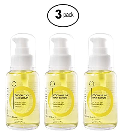 Focus Coconut Oil Hair Serum – Infused with Raw Virgin Olive Oil, Sweet Almond, Keratin, Aloe and Algae Extract - Rejuvenate, Strengthen and Restore Hair to Natural Beauty (3 Pack)