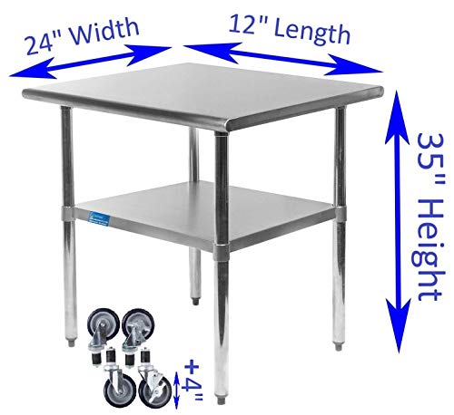 AmGood Stainless Steel Work Table - with Undershelf & Casters (Wheels) | Food Prep | Utility Work Station | NSF Certified | All Sizes (12'' Length X 24'' Width) by AmGood (Image #1)