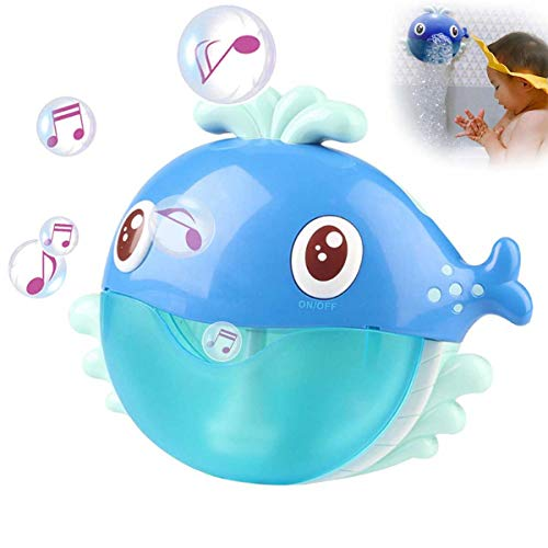 XJunion Musical Whale Baby Bath Bubble Toy Automatic Bubble Blower, Upgraded Bubble Machine Fun Bathtub Bubble Toys - for Baby Kids Boys Girls Cute Bath Toys Gifts(12 Music Song)