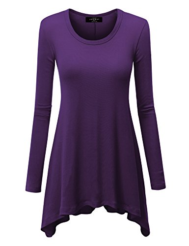 - WT953 Womens Round Neck Long Sleeve Rib Trapeze Tunic Top S Purple