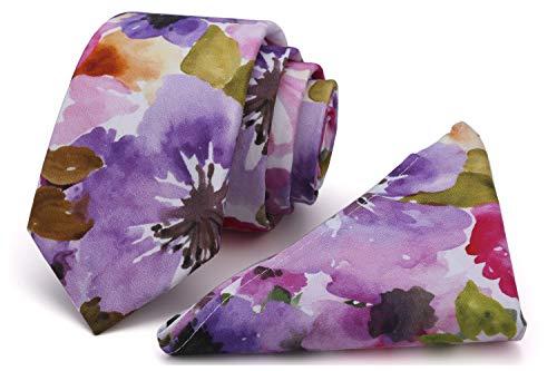 (Kingdom Secret Men's Skinny Tie Floral Print Cotton Necktie and Pocket Square Set, Great for Weddings, Groom, Groomsmen)