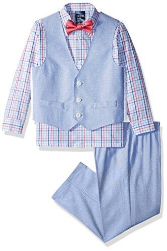 Izod boys 4-Piece Vest Set with Dress Shirt, Bow Tie, Pants, and Vest, Confetti, 2T