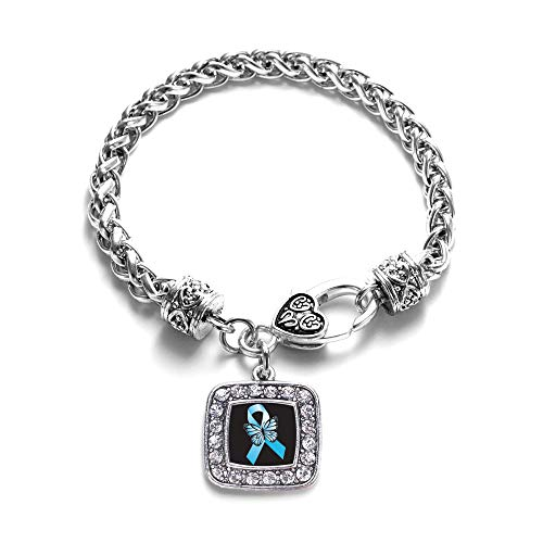 Inspired Silver - Addiction Recovery Braided Bracelet for Women - Silver Square Charm Bracelet with Cubic Zirconia Jewelry