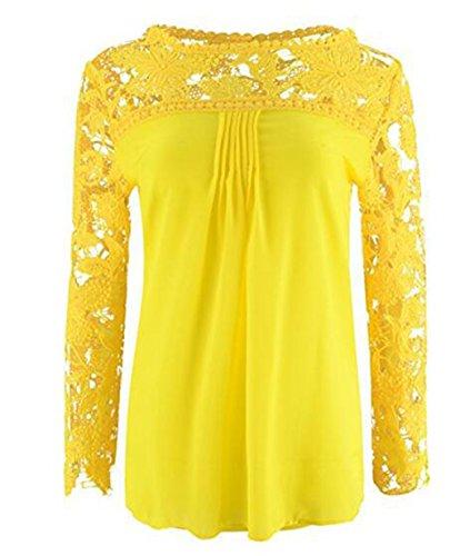 LemonGirl Women Lace Long Sleeve Blouse Shirt Tops Yellow