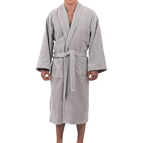 (alpine swiss Aiden Mens Cotton Terry Cloth Bathrobe Shawl Collar Velour Spa Robe Gry ML Gray)