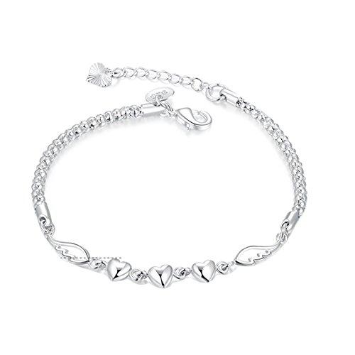 Price comparison product image Beautymei Women's Girl's Heart Angel Wings Bangle Bracelet
