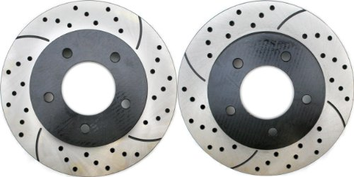 Prime Choice Auto Parts PR64044LR Performance Drilled and Slotted Brake Rotor Pair for Front