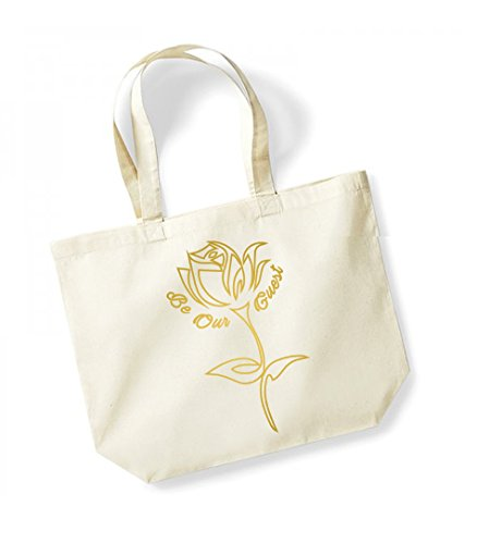 Be Our Guest - Large Canvas Fun Slogan Tote Bag Natural/Gold