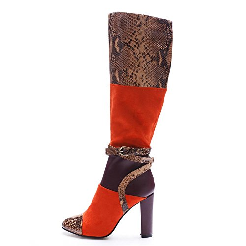 Fashion Belt Autumn Women Rough Shoes Over Boots Knight Winter Knee Thigh Color High Round Fight NVXIE Orange Heel Ladies ORANGE EUR36UK354 Head Buckle Serpentine Spring nCxWwE