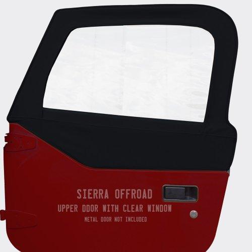 Sierra Offroad Jeep Wrangler TJ (1997-2006) Trilogy Acoustic Vinyl Upper Door Skins with Clear Windows (sold in pairs), Black